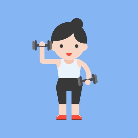 cute character and dumbbell weight lifting set, flat design Illusztráció