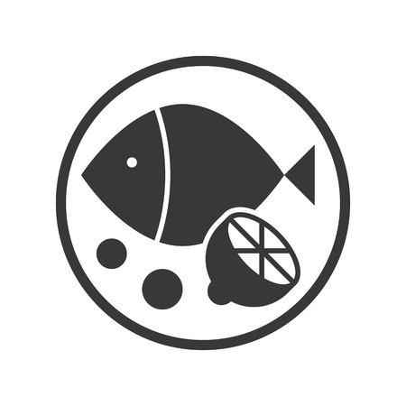fish and lemon, food and beverage set, glyph design icon Stock Illustratie