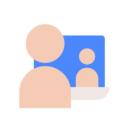 human communication with people on laptop screen, webinar or e-learning concept icon