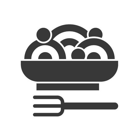 spaghetti and meatball, food and beverage set, glyph design icon