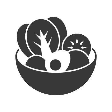 salad bowl with vegetable and boiled egg, food and beverage set, glyph design icon Illustration