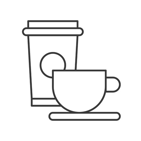 Beverage of coffee and tea cup, Food outline icon