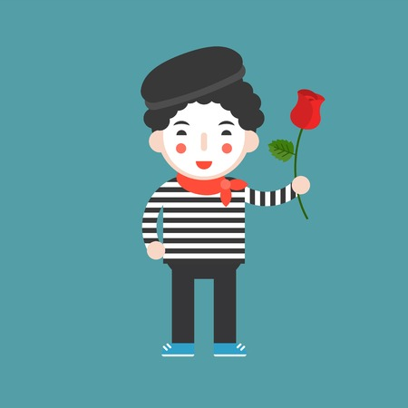 mime artist with rose, cute character, flat design