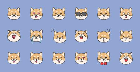 shiba inu emoticon filled outline design, vector illustration