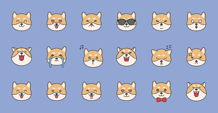 shiba inu emoticon filled outline design, vector illustration Illustration