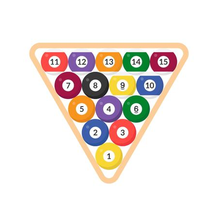 Sequence Billiard ball with numbers in triangular frame icon, flat design Illustration