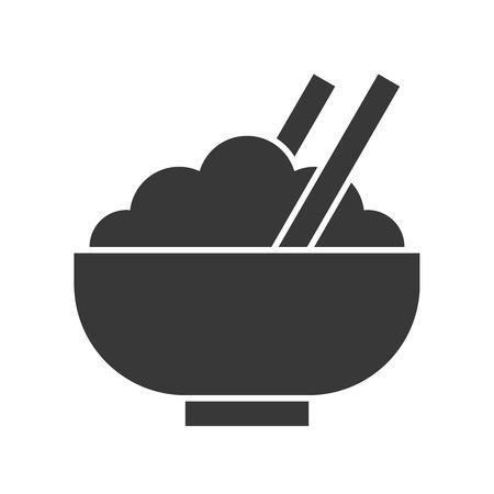 bowl of rice and chop stick, food and beverage set, glyph design icon Vektorové ilustrace