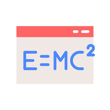 E = MC in window icon, online education concept