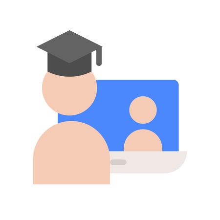 post graduated self learning by online course, e-learning education icon set