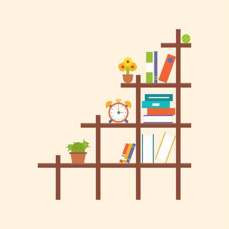 wooden book shelf and element, flat design 向量圖像