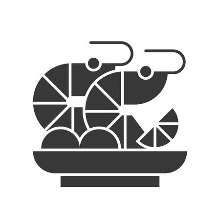 prawn cocktail or shrimp cocktail, food and beverage set, glyph design icon Illustration