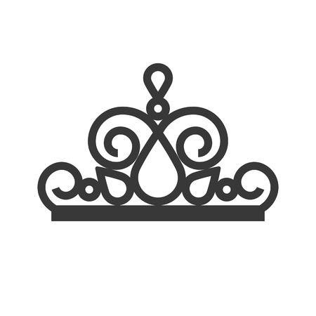 beauty pageant crown, jewelry icon, glyph style. Illustration