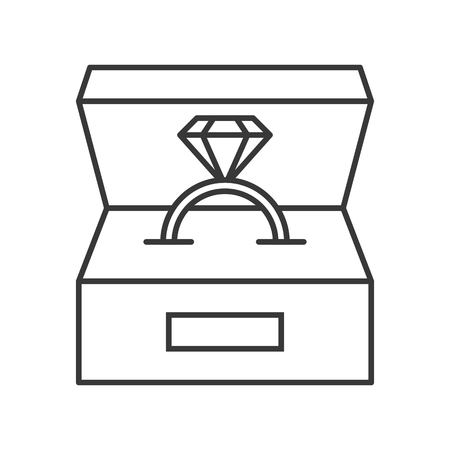 diamond ring in box, jewelry related, outline icon.