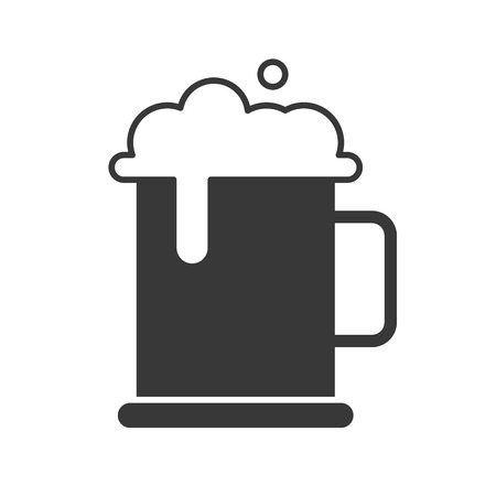 mug of beer and foam, food and beverage set, glyph design icon