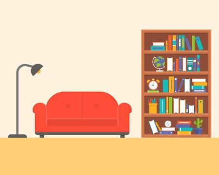 lamp with sofa and book shelf, flat design Illustration