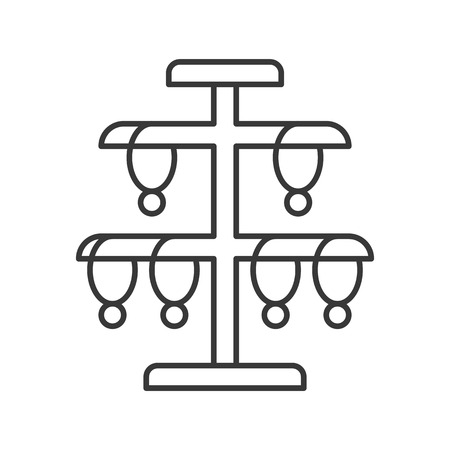 necklace stand, jewelry related, outline vector icon. Illustration