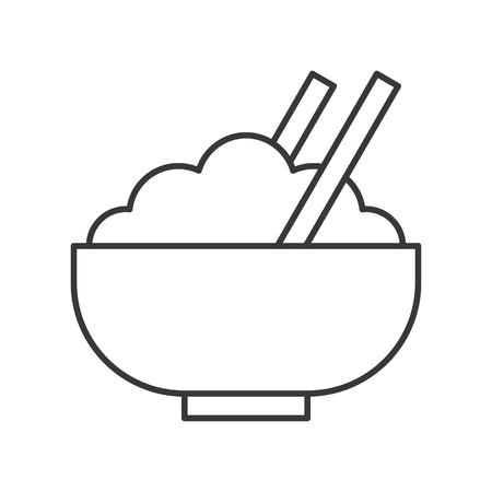 rice bowl with chopsticks, food outline icon