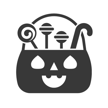 sweets and candy in jack o lantern basket, Halloween solid icon