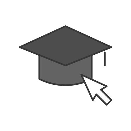 mouse cursor arrow and square academic cap, education online editable stroke outline icon