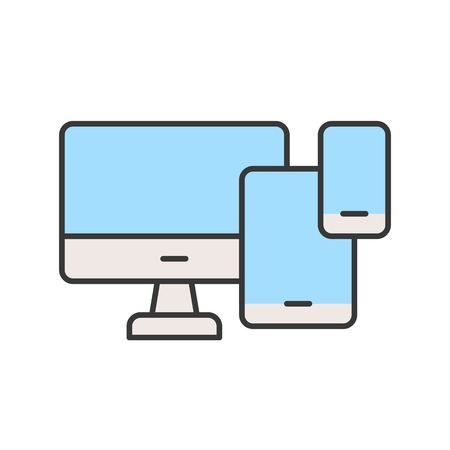 computer desktop, table and smart phone, device icon, editable stroke outline