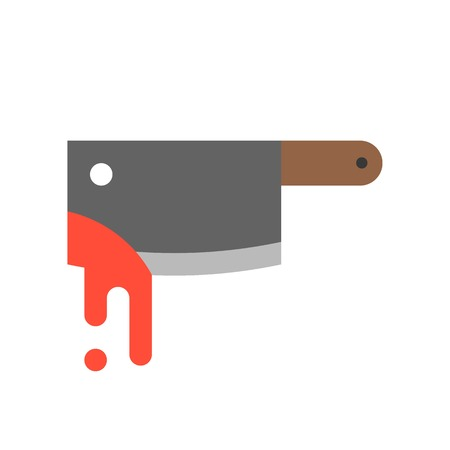 bloody cleaver, Halloween related icon, flat design