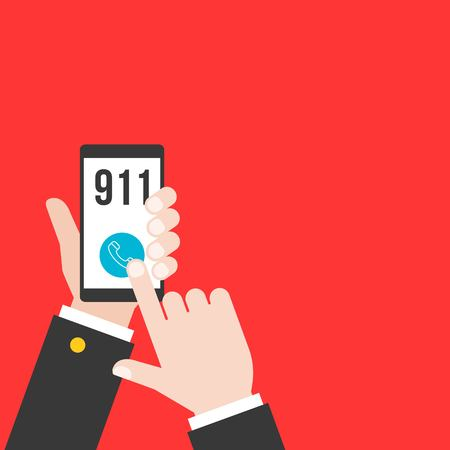 business hand holding smart phone calling police 911 from application, flat design
