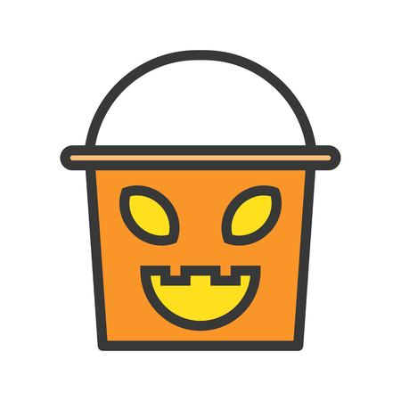 trick or treat bucket with scary face, halloween character editable stroke
