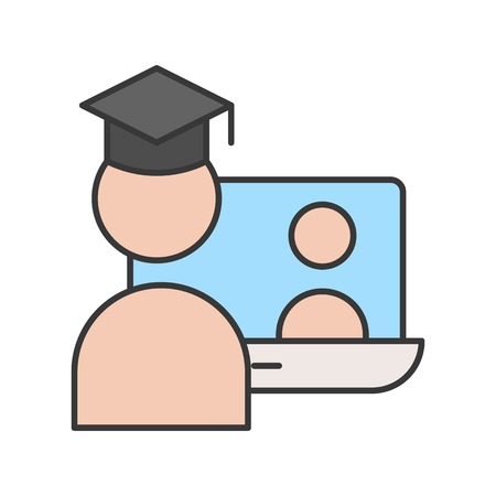 post graduated self learning by online course, e-learning education editable stroke outline icon Çizim