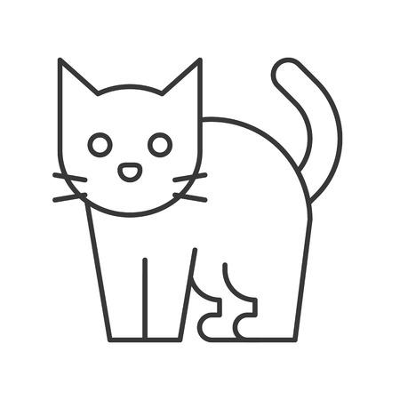 black cat, Halloween related icon, editable stroke  イラスト・ベクター素材