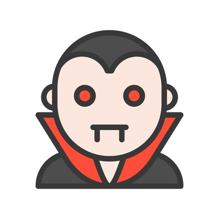 count dracula character, halloween icon editable stroke