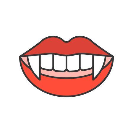 dents de vampire, icône liée à Halloween, contour rempli trait modifiable de conception Vecteurs