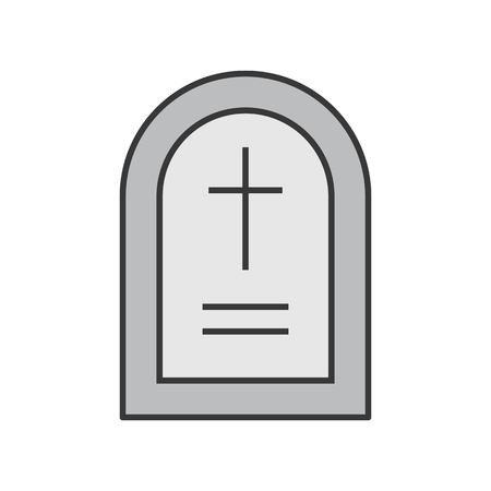 gravestone, Halloween related icon, filled outline design editable stroke