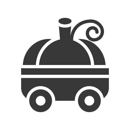 pumpkin carriage, Halloween related, glyph icon design