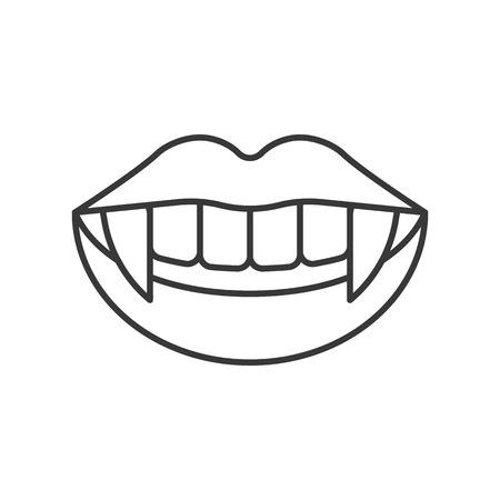 vampire teeth, halloween related hollow outline icon, editable stroke