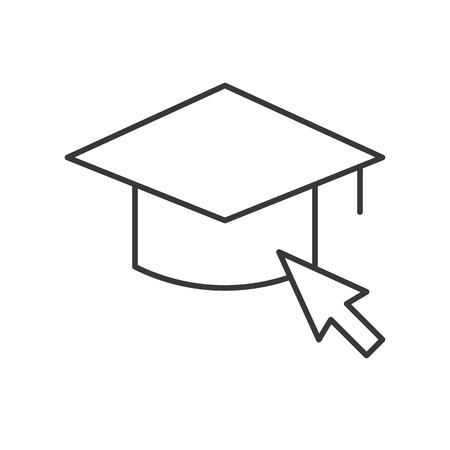 mouse cursor arrow and square academic cap, education online icon