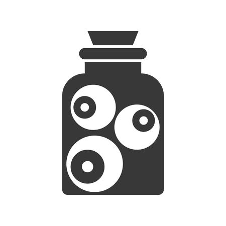 eyeball in jar, Halloween solid vector icon