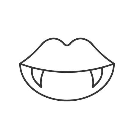 dientes de vampiro, icono relacionado con Halloween, trazo editable de diseño de contorno Ilustración de vector