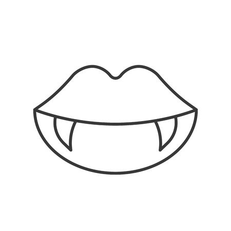 vampire teeth, Halloween related icon, outline design editable stroke 矢量图片