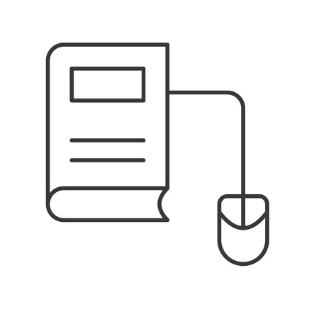 e book and mouse, online education icon concept Illustration