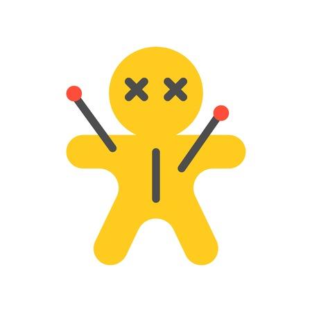 Voodoo-Puppe, Halloween-Zeichensatz-Symbol, flaches Design Vektorgrafik
