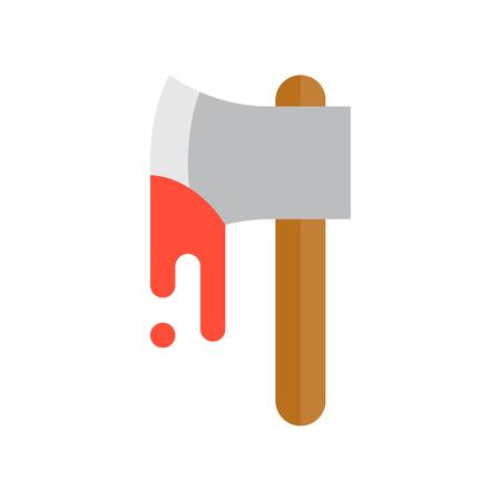 bloody axe, Halloween related icon, flat design Ilustrace