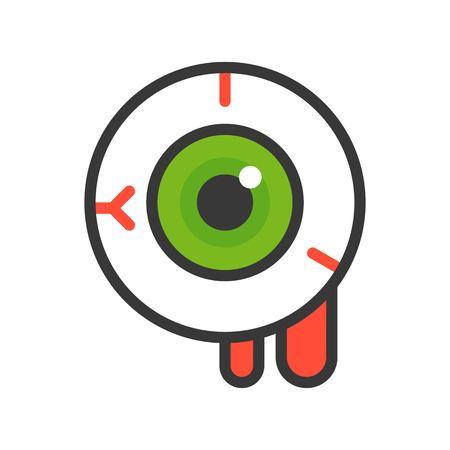 bloody eyeball, halloween vector icon editable stroke