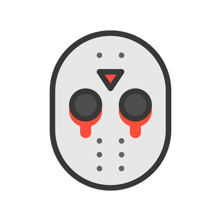 Halloween Jason Mask Cartoon.Halloween Character Icon Murderer Mask Jason Editable Stroke