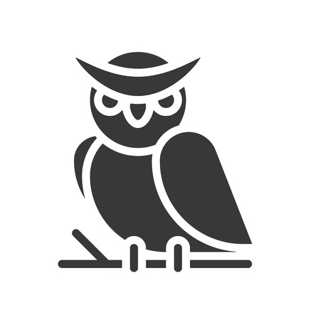 owl solid icon, halloween character vector illustration Vectores