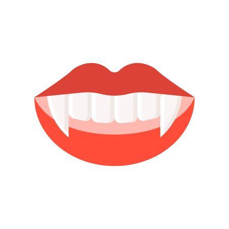 vampire teeth, Halloween related icon, flat design