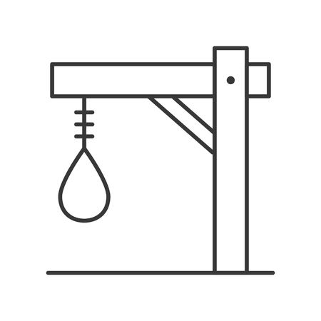gallows, Halloween related hollow outline icon, editable stroke
