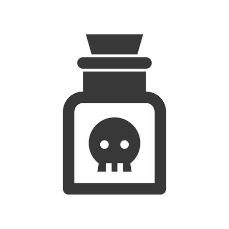 poison in jar, Halloween solid vector icon