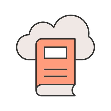 cloud library icon in filled outline, editable stroke