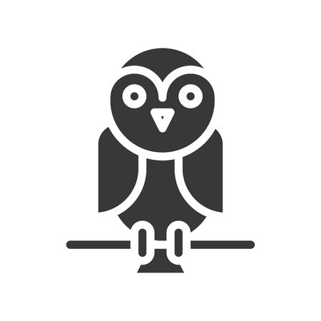 cute barn owl, halloween related vector icon