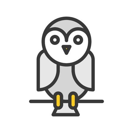 cute barn owl, halloween related icon editable stroke